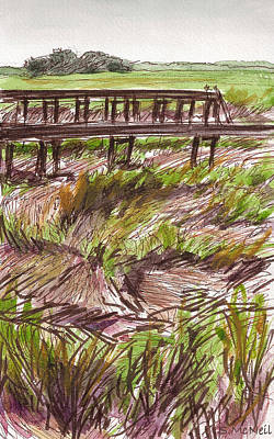 Dock Across The Marsh Original by Sharon McNeil