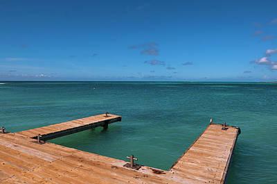 Antilles Photograph - Dock And Ocean, Rodgers Beach, Aruba by Alberto Biscaro