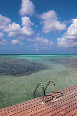 Antilles Photograph - Dock And Water, Mangel Halto Beach by Alberto Biscaro