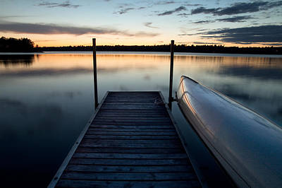 Photograph - Dock At Dusk On Black Lake by Rob Huntley