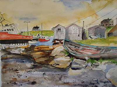 Painting - Dock At Pegys Cove by Luz Perez