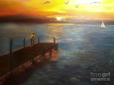 Dock Fishing Art Print by Ordy Duker