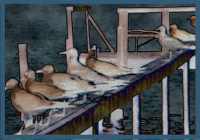 Abstract Digital Drawing - Dock Flock by Becky Sterling