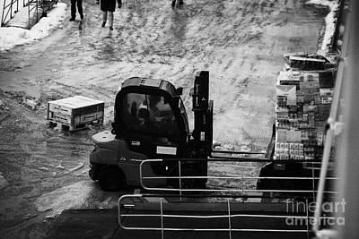 Dock Forklift Truck Unloading Deliveries From Hurtigruten Coastal Ferry Havoysund Finnmark Norway Eu Art Print