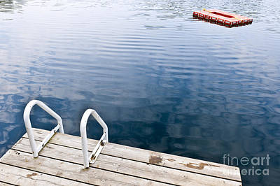Swim Ladder Photograph - Dock On Calm Summer Lake by Elena Elisseeva