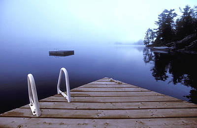 Dock On Lake, Parry Sound, Ontario Art Print by Kevin Spreekmeester