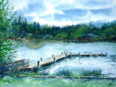 Painting - Dock On Long Lake by Zaira Dzhaubaeva