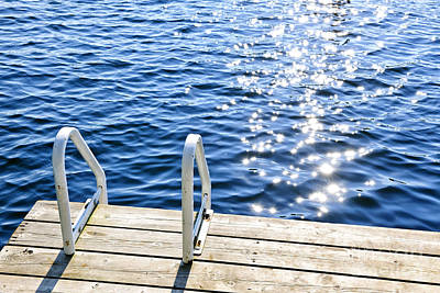 Swim Ladder Photograph - Dock On Summer Lake With Sparkling Water by Elena Elisseeva