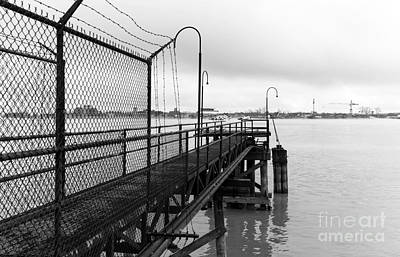 Photograph - Dock On The Mississippi Mono by John Rizzuto