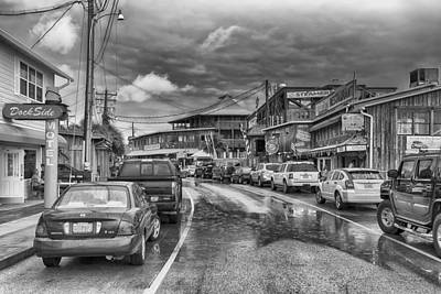 Photograph - Dock Street - Cedar Key -bw by Howard Salmon