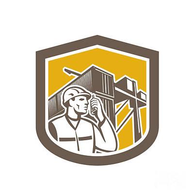 Dock Worker On Phone Container Yard Shield Art Print by Aloysius Patrimonio