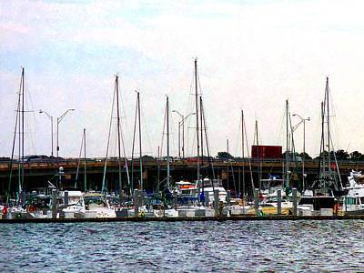 Docked Boats Norfolk Va Art Print