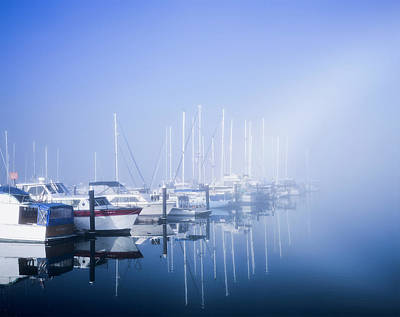 Docked Boats On A Foggy Morning Art Print