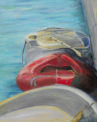 Painting - Docked On Salt Run by Patty Weeks