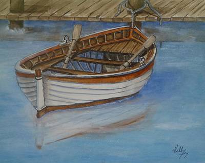 Docked Rowboat Art Print
