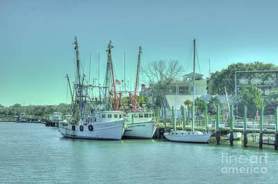 Docked Shrimp Boats Art Print