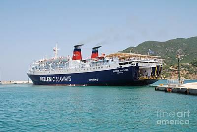 Skopelos Photograph - Docking Ferry Skopelos by David Fowler