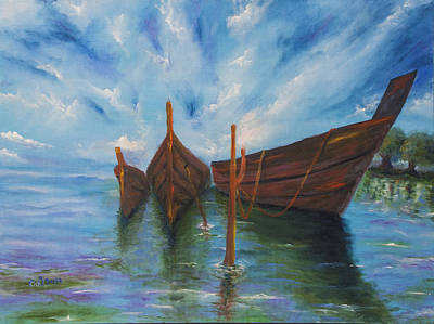 Reflections Of Sky In Water Painting - Docking by Music of the Heart