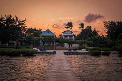 Caribbean House Wall Art - Photograph - Dockside Sunset In Belize by Kyle Ledeboer