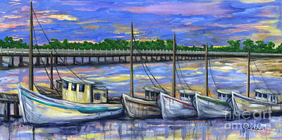 Painting - Dockside Sunset by JoAnn Wheeler