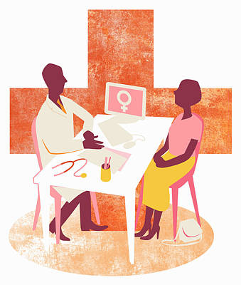Fertility Symbols Wall Art - Photograph - Doctor And Female Patient Meeting by Ikon Ikon Images