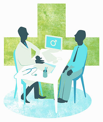 Fertility Symbols Wall Art - Photograph - Doctor And Male Patient Meeting by Ikon Ikon Images