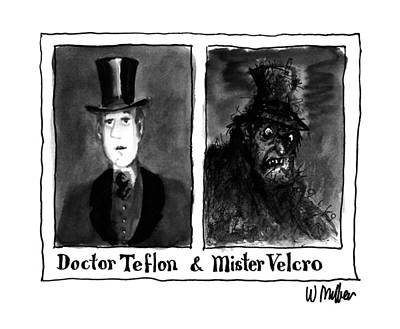 Dr. Who Wall Art - Drawing - Doctor Teflon & Mister Velcro by Warren Miller