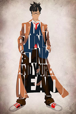 Series Painting - Doctor Who Inspired Tenth Doctor's Typographic Artwork by Ayse Deniz