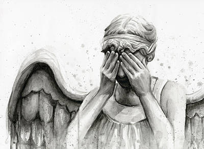 Watercolor Portraits Painting - Doctor Who Weeping Angel Don't Blink by Olga Shvartsur