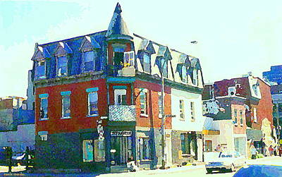 Montreal Storefronts Painting - Documenting Local Storefronts Old Mansion St Dominique Depanneur Paintings Montreal Art  by Carole Spandau