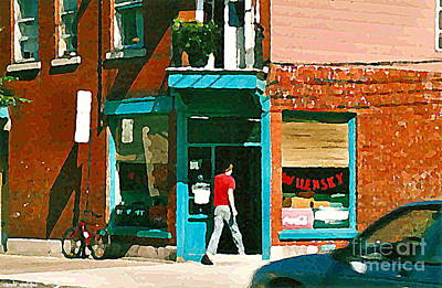 Painting - Documenting Vintage Montreal Depanneur Deli Wilensky Montreal Restaurant Paintings Cspandau  Art by Carole Spandau