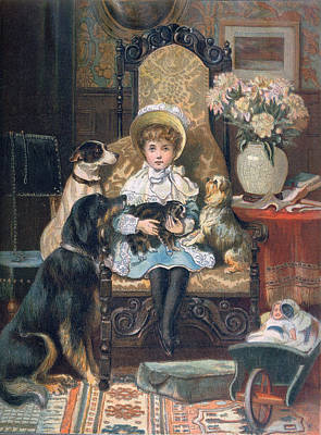 Toddler Portrait Painting - Doddy And Her Pets by Charles Trevor Grand