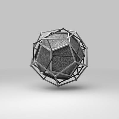 Cryptic Digital Art - Dodecahedron Trine by Par Thorbjornsson