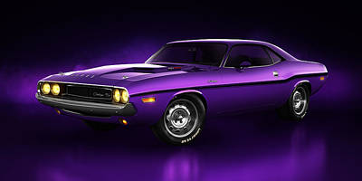 Art Print featuring the digital art Dodge Challenger Hemi - Shadow by Marc Orphanos