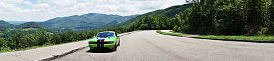Photograph - Dodge Challenger Srt Green With Envy Panoramic  by Sharon Popek