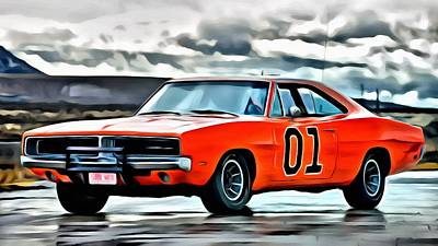 Painting - Dodge Charger  General Lee 1969 by Florian Rodarte