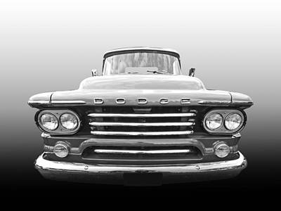 Photograph - Dodge D100 Sweptside 1958 In Black And White by Gill Billington