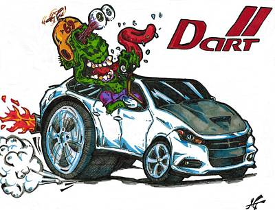 Funny Car Drawing - Dodge Dart  by Michael Toth