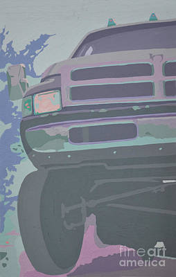 Dodge Truck Painting - Dodge Ram With Decreased Color Value by Paul Kuras