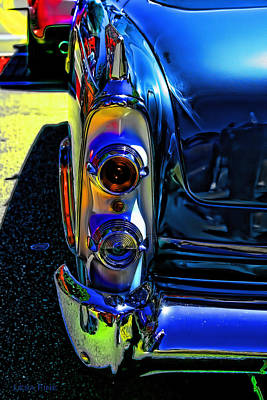 Classic Cars Digital Art - Dodge Royal Lancer Blue Pop Art by Lesa Fine