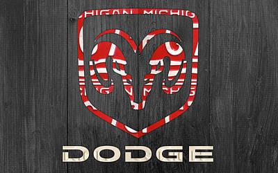 Car Logos Mixed Media - Dodge Vintage Logo License Plate Art by Design Turnpike