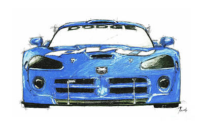 Viper Drawing - Dodge Viper Blue by Pablo Franchi