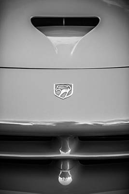 Photograph - Dodge Viper Emblem -1157bw by Jill Reger