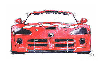 Viper Drawing - Dodge Viper Red by Pablo Franchi