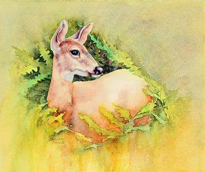 Painting - Doe In Ferns by Bonnie Rinier