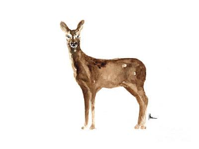 Deer Wall Art - Painting - Doe Original Artwork Watercolor Painting by Joanna Szmerdt