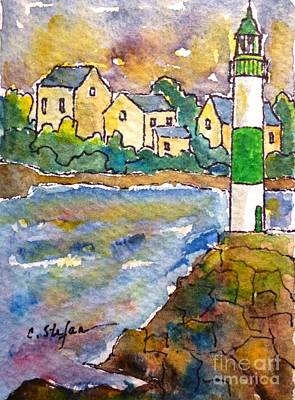 Village Painting - Doelan Lighthouse - France - Watercolor by Cristina Stefan