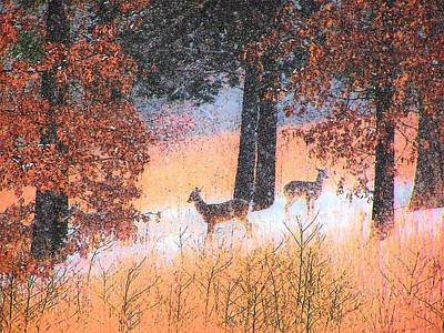 Missouri Whitetail Painting - Does In The Snow by Gordon W Miller