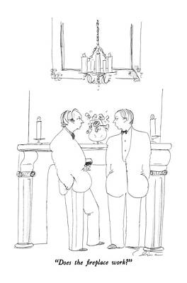Glass Of Wine Drawing - Does The Fireplace Work? by Richard Cline