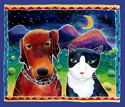 Cats And Dogs Painting - Dog And Cat In The Moonlight by Harriet Peck Taylor